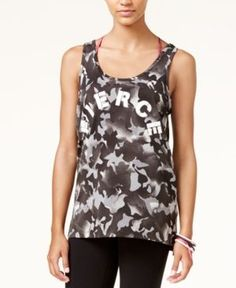 Material Girl Active Juniors' Ladder-Back Graphic Tank Top, Created for Macy's - Black XXL