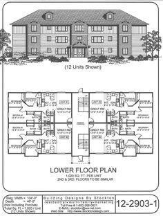 12 plex 43x88 apartment house plan ideas pinterest for 8 unit apartment building plans