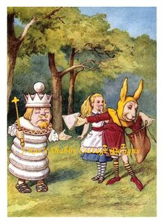 chess king | Details about Alice In Wonderland w Chess King Fabric Block 8x10