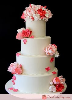 Pink Rose Wedding Cake by Pink Cake Box