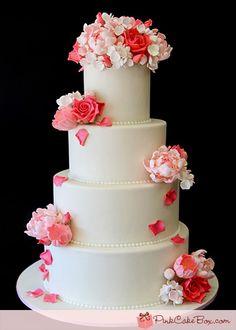Pink Rose Wedding Cake by Pink Cake Box in Denville, NJ.  More photos and videos at http://blog.pinkcakebox.com/pink-wedding-cake-2011-09-14.htm