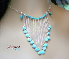 Turquoise Bib Necklace  Sterling Cascade by WolfwoodCreations, $70.00