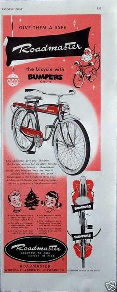 Roadmaster Bicycle Bike Bumpers On Rims Christmas (1950)
