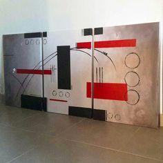 Triptyque acrylique sur toile , www.galerie-creation.com/doti-abstrait
