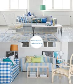relaxing,cool blue..love the mix of checks and stripes