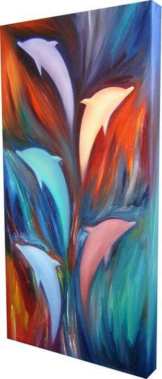 Dancing Dolphins, oil on canvas (30 x 60cm) £250