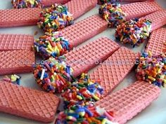 Sugar cream wafers with sprinkles. I can see vanilla cookies with multicolor sprinkles or any color that works with the theme; strawberry with bright pink sprinkles or sugar; chocolate with green for a safari theme, etc. Girls Tea Party, Princess Tea Party, Tea Party Birthday, Birthday Ideas, Fairy Birthday, 9th Birthday, Princess Birthday, Birthday Celebration, Tea Party Snacks