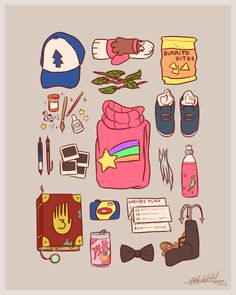 Gravity falls suitcase. Featuring Mabel juice, the Wendy plan, sock Mabel and burrito bites from different episodes