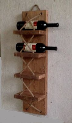 Dieses außergewöhnliche Weinregal bringt einen rustikalen und urigen Look in I. This exceptional wine rack brings a rustic and rustic look to your home. Also suitable as a towel holder. The wine rac Wine Shelves, Wine Storage, Storage Rack, Bottle Rack, Wine Bottle Holders, Bar Furniture, Furniture Plans, Wood Projects, Woodworking Projects