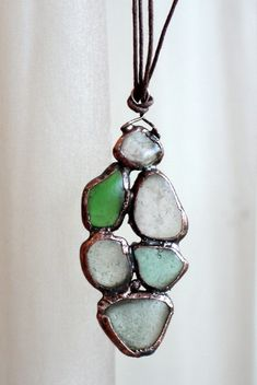 Experiment - electroforming on sea glass by bounty_gg, via Flickr