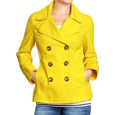 HP [Old Navy] Yellow Double Breasted Coat Only won a couple times. In great condition! Size XS but fits like a S in my opinion. Very soft 100% cotton shell. Body lining 80% polyester & 20% cotton. Sleeve lining 100% polyester. (Third photo from Old Navy website) Old Navy Jackets & Coats