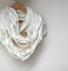 Women infinity white scarf  felted wool circle scarf  by AgnesFelt, $55.00