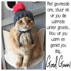Goeie More, Afrikaans Quotes, Good Morning Quotes, Crochet Hats, Winter, Knitting Hats, Winter Time, Winter Fashion