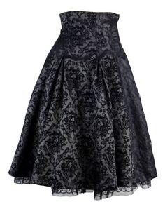 Jupe noire à motif vintage aristocrate avec laçage au dos