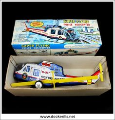 Super Flying Police Helicopter, TPS, Japan (1 of 2). Vintage Tin Litho Tin Plate Toy. Complex Action / Battery Operated Mechanism. DOCKERILLS - TIN TOY REFERENCE - Kevin Dockerill - Picasa Web Albums