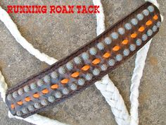 Vintage Scroll Mule Tape Halter with Orange Buckstitch and Copper Patina Dots by Running Roan Tack Clinton Anderson, Horse Halters, Andalusian Horse, Horse Tack, Tape, Dots, Copper, Beaded Bracelets, Horses
