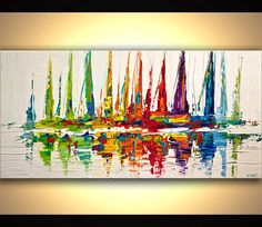 Colorful Sailboats Abstract Acrylic Painting Contemporary modern Abstract Seascape Painting On Canvas Palette Knife by Osnat - MADE TO ORDER by OsnatFineArt on Etsy https://www.etsy.com/listing/222830182/colorful-sailboats-abstract-acrylic