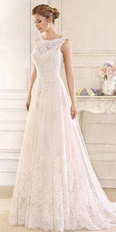 6b20662d6cb1 Romantic Tulle   Satin Bateau Neckline A-line Wedding Dresses With Lace  Appliques