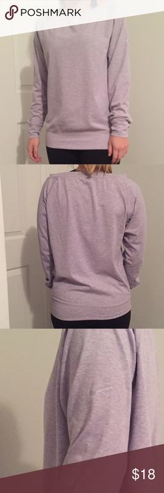 Nike Long Sleeve Small A very nice long sleeve from Nike. Color is very light purple and leans toward light gray honestly. Size is small and it is barely worn! 60% Cotton, 34% Polyester, and 6% Spandex. Nike Tops Tees - Long Sleeve