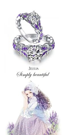 Jeulia Butterfly Round Cut Created White Sapphire with Amethyst Sidestone Engagement Ring #jeulia