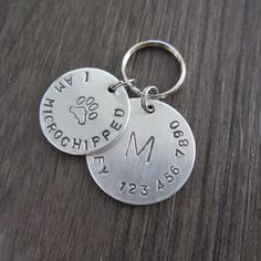 Microchipped Dog Tags, I Am Microchipped, Aluminum dog Tag, ID Tags for Dogs, Custom Pet Tag, Hand Stamped Dog Tag, Personalized Dog Tag