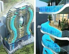 Zwembalkons in Mumbai, Each room has its own swimming pool...