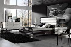 Mens bedroom decor black white interior wallpaper 40 stylish bachelor bedroom ideas and decoration tips Mens Room Decor, Home Decor Bedroom, Bedroom Ideas, Bedroom Designs, Bedroom Tax, Glam Bedroom, Gothic Bedroom, Modern Bedroom, White Bedroom