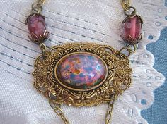 Victorian  Style Antiqued Brass and Pink Opal by ATestOfTime, $26.00