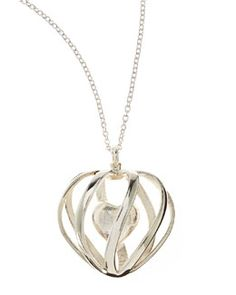 Shapeways Monogrammed 3-D-Printed Sterling Silver Heart Pendant Necklace