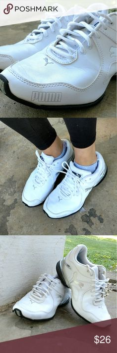 ⚡ Sale! Classic white leather Puma sneakers!!! Nice pair of tennis shoes. Some normal wear and tear. See pictures Puma Shoes Athletic Shoes