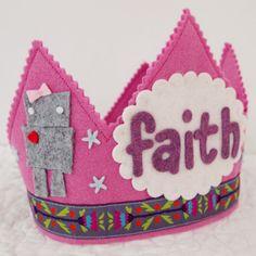Girl Robot Birthday - Felt Birthday Crown for Girls
