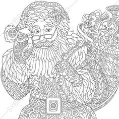Coloring Page of Santa Claus. Zentangle Doodle Coloring Book Pages for Adults. Digital illustration. Instant Download Print.