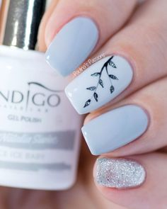 Easy Gel Nail Art - Sparkly Silver Leaves