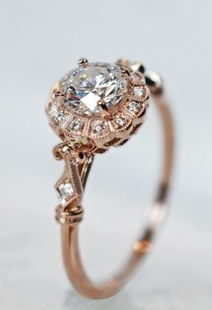 Diamond and Rose Gold Art Deco Wedding Ring