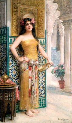 Léon-françois comerre (1850-1916) orientale au tambourin huile sur toile, signée en bas à droite. 85 x 51 cm