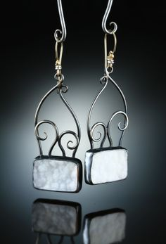 White Druzy Quartz Earrings. Fabricated Sterling Silver & 14k. www.amybuettner.com https://www.facebook.com/pages/Metalsmiths-Amy-Buettner-Tucker-Glasow/101876779907812?ref=hl https://www.etsy.com/people/amybuettner