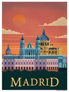 Madrid Poster Size – Digital Print on 80 lb cover matte white Physical poster does not include Watermark. *SHIPPING DETAILS* Items will be… Tourism Poster, Travel Illustration, Digital Illustration, Travel Themes, Vintage Travel Posters, Grafik Design, Illustrations And Posters, European Travel, Vintage Advertisements