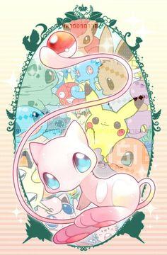 Many chibi Pokemon gather into a cute frame. Adorable!