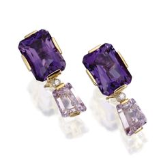 PAIR OF 18 KARAT GOLD, AMETHYST AND DIAMOND PENDANT-EARCLIPS, TONY DUQUETTE Set with emerald-cut and modified rectangular-shaped amethysts in light to dark hues weighing approximately 62.00 carats, spaced by round diamonds weighing approximately .10 carat, signed Tony Duquette, with retractable posts.