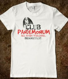 "CLUB PANDEMONIUM. If this does not scream ""TMI fan!"" Or ""wear me!"" I don't know what does!"