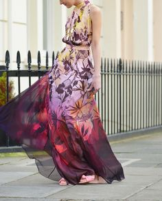 A print that moves just as she swirls: silhouetted hibiscus flowers tumble over the silk while splashes of ink in citrus through to damson create a sunset gradient. Matthew Williamson SS15 Hibiscus Silk Chiffon Gathered Gown