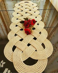 Round ivory cotton doily crochet in shape of spider web with three-dimensional flowers and leaves Or Diy Crafts Crochet, Crochet Home, Crochet Motif, Diy Crafts To Sell, Crochet Patterns, Thread Crochet, Crochet Table Runner, Table Runner Pattern, Crochet Tablecloth