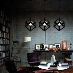 Style simple lumière pendentif en forme de carrés cuisine repas lustres lampe en fer forgé ombre luminaire Sale - Banggood Mobile