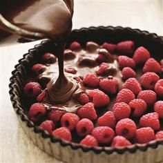 Silky chocolate and raspberry tart