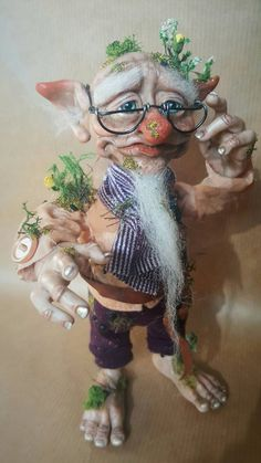 Available: OOAK Garden Gnome Fae Poseable Art Doll by FaunleyFae on DeviantArt Duende Real, Dragons, Kobold, Fairy Dolls, Troll Dolls, Mushroom Art, Fairy Figurines, Fairy Art, Magical Creatures