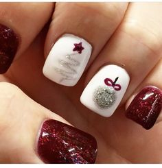 Whimsical Christmas tree and ornament glittery nail design.