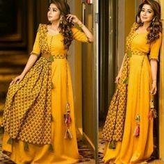 Ready Made Dresses Yellow Designer Taffeta Silk Stich Gown With Silk Dupatta Indian Gowns Dresses, Indian Fashion Dresses, Dress Indian Style, Indian Designer Outfits, Fashion Outfits, Fashion Hub, India Fashion, Indian Outfits, Designer Party Wear Dresses