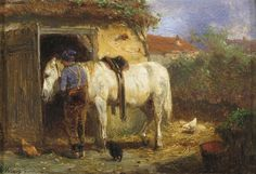 Anton Mauve - A farmer with his horse by a stable; Medium: Oil on panel