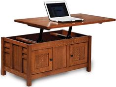 Amish Kascade Enclosed Lift Top Coffee Table With Doorsfor An Office Space