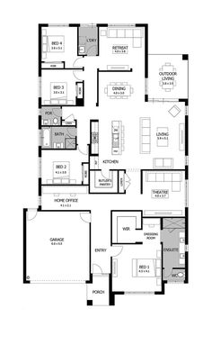 Image result for house plan bed 2 and 3 sharing ensuite